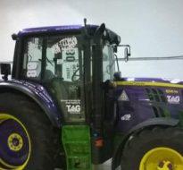 purple tractor wrap