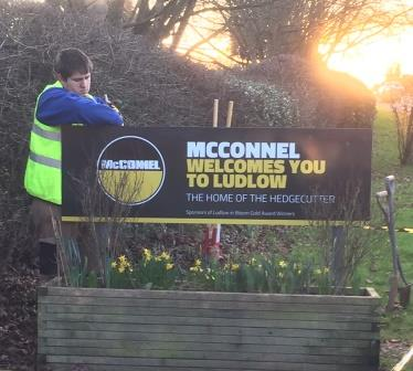 Mcconnels free-standing solid aluminium sign with posts