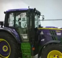 purple tractor wrap