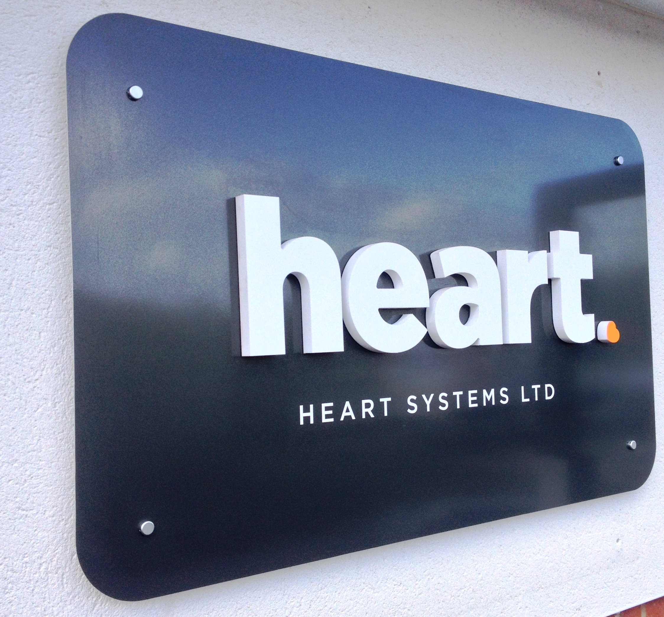 heart systems raised lettering