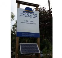 solar powered lit free-standing signage