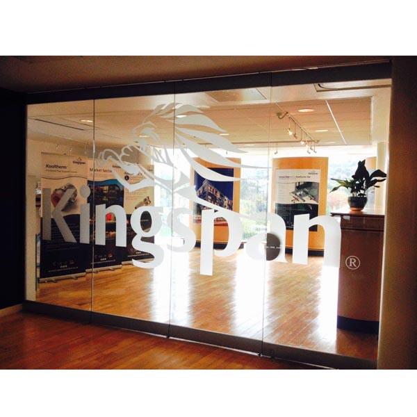 Reception door and interior graphics