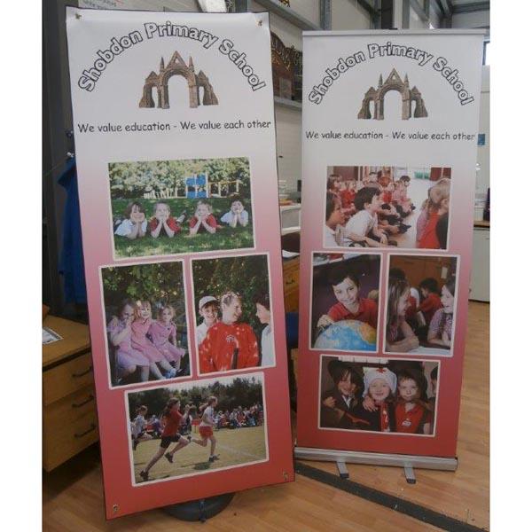 Shobdon school outdoor and indoor banner up